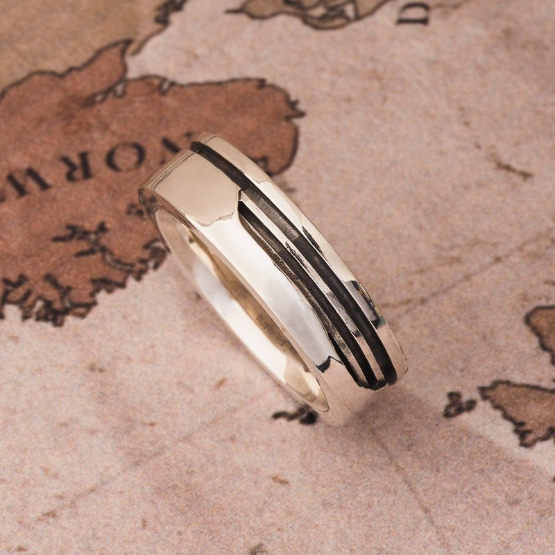 Minimalist stylish architectural screw ring 925 sterling silver