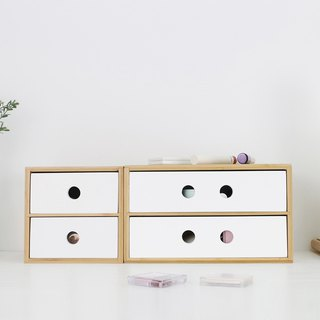 Two-tier storage wooden drawer box