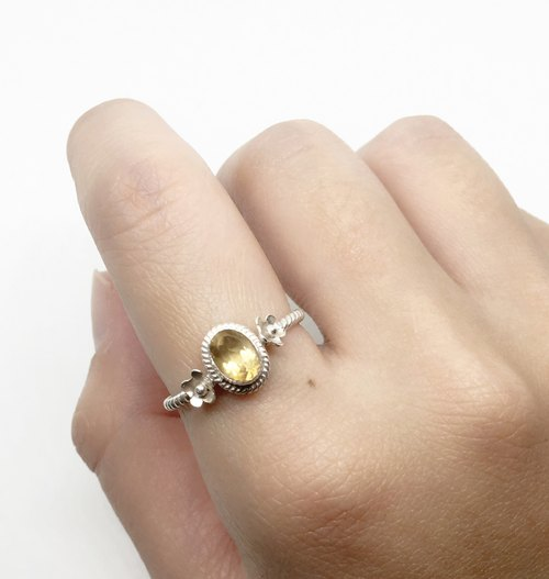 Yellow Crystal 925 sterling silver flower ring Nepal handmade mosaic production