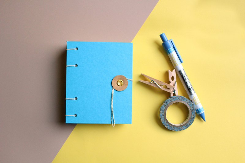 Sky blue hardcover environmentally friendly recycled paper tied rope button pocket notebook