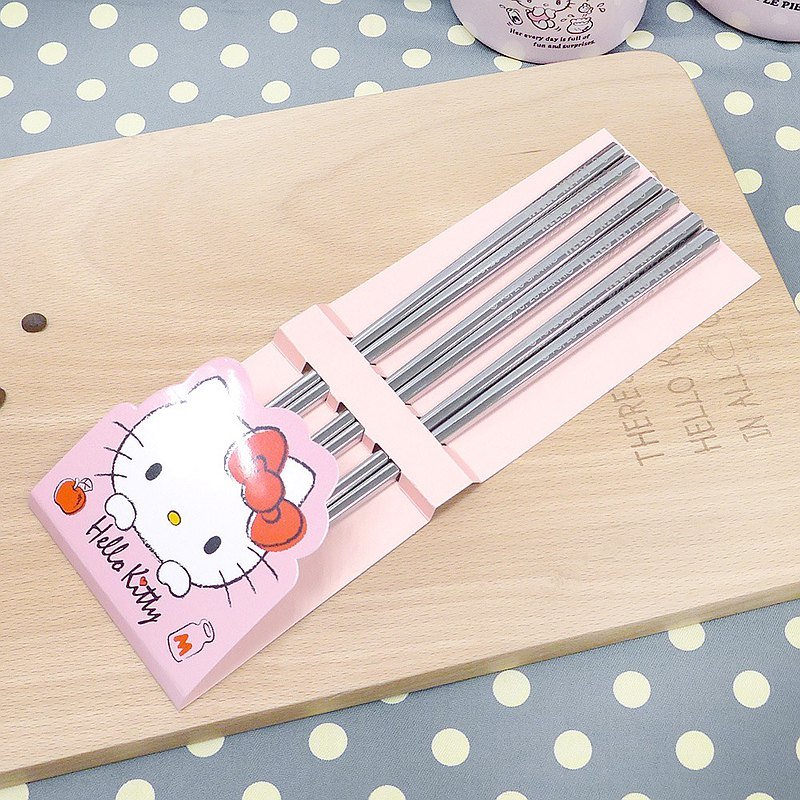 [HELLO KITTY] Three sets of stainless steel chopsticks KS-8139 (SGS certification made in Taiwan)