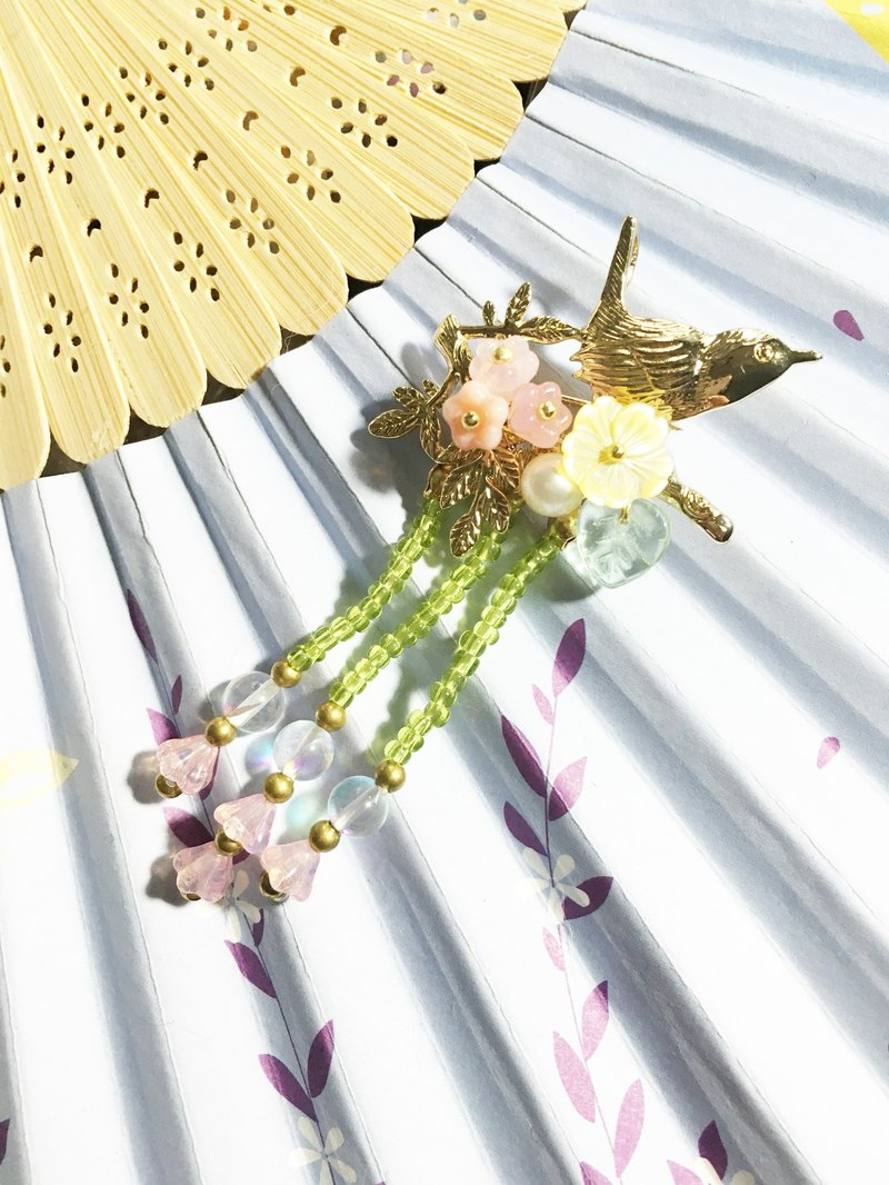 Tong Ling set up ornaments ~ pull heaven and earth {wind Qingming} natural shell flowers natural pearl Czech glass flowers flash stone hand for pin hairpin