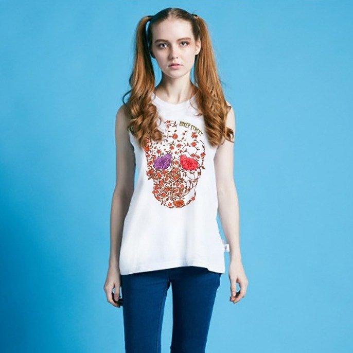 British Fashion Brand -Baker Street- Blossom Skull Printed Tank Top