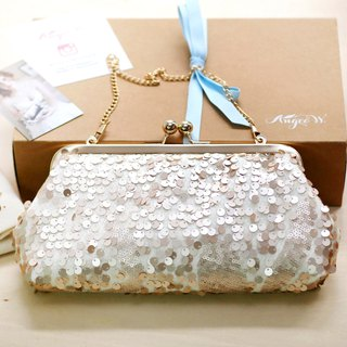 Handmade Clutch Bag in Rose Gold | Gift for Mom, Bridesmaids | Blush Champagne Sequins Tulle