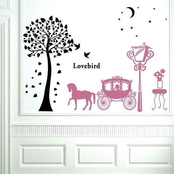 """Smart Design"" Creative ◆ Seamless wall stickers romantic horse-drawn carriage (8 colors optional)"