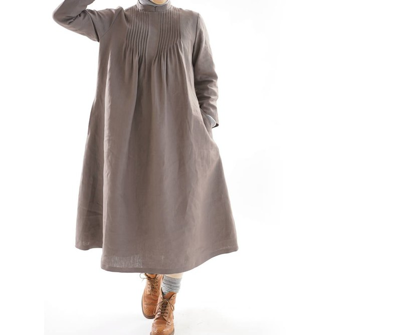 linen dress / pintuck dress / stand collar / vandyke brown a81-3