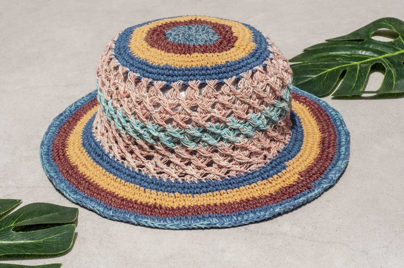 Valentine's Day Valentine's Day gift limited to a desert travel wind braided cotton hat / knit hat / fisherman hat / sun hat / straw hat / hand-knitted cotton hat / crocheted cotton hat / painter cap / design hat-Moroccan blueberry coffee cake stri