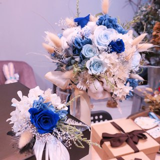 One Flower cotton Blue Clear Sky Blue Rose Bouquet