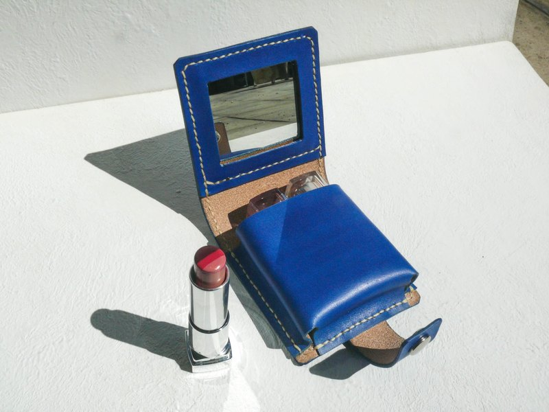 Do not hit Bao Bao blue vegetable tanned leather full leather lipstick box with mirror