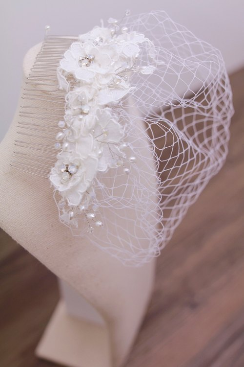 Bridal Lace White Headdress - Handmade Bridal Lace Birdcage Veil