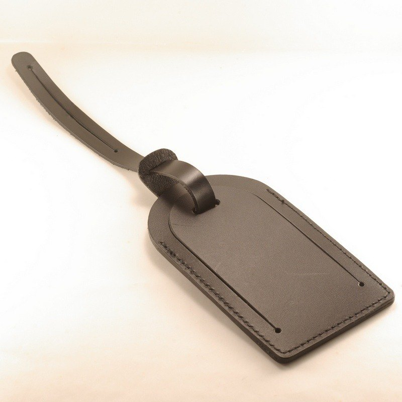Classic Luggage Tag Dark Leather Black Leather Lettering Service