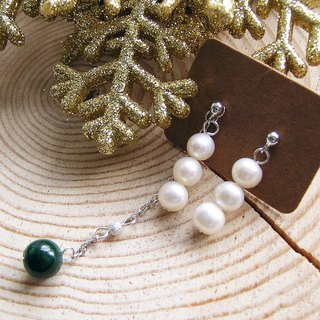925 sterling silver with freshwater pearl and Malachite earrings Homemade and handmade