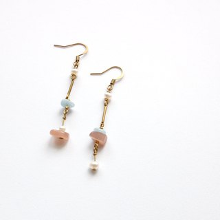 Brass Earrings | Sun Stone | Aquamarine | Freshwater Pearl Ear Pins / Ear Clips