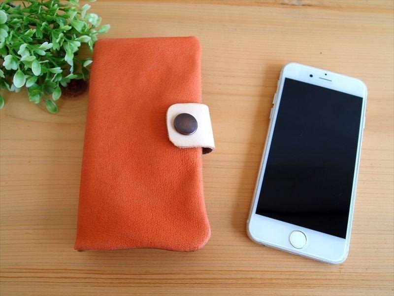 [Custom-made classic orange] pig leather soft Sumahokesu [various models] leather cover [iphone6, xperia, galaxy] orange