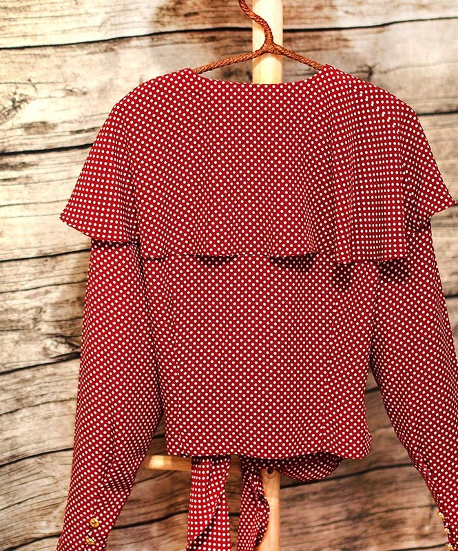 Calf Calf Village village vintage vintage princess flounced chiffon long-sleeved shirt red brick {Princess}