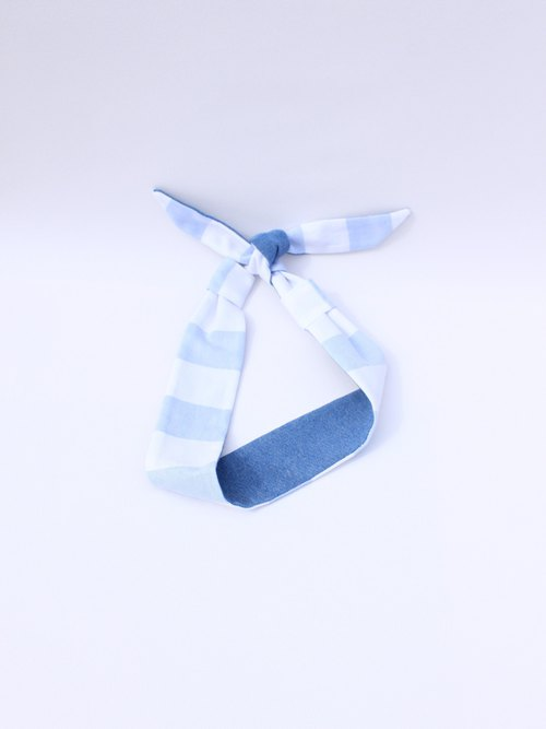 【The MAMA's Closet】Denim with Striped (Light blue) /  Classic Headband