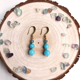 J006-Semi-natural stone bead string earrings Kyanite Aquamarine Crystal Blue Three Brothers