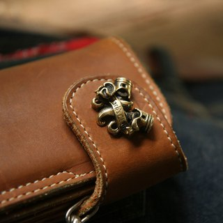 piston cross Biker long Wallet chain ring Genuine Leather skull cafe Racer men