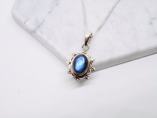 Nepal blue labradorite stone 925 sterling silver necklace love spectrum Yu Shou Nepal handmade stone mosaic making birthday gift Valentine's Day gift