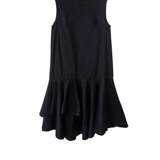 Mani Mina Black Midi Dress Double Frill Skirt.