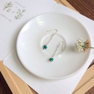 Ops Turquoise Gemstone Silver Hook Earrings