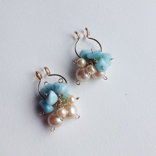 14 kgf larimer and vintage glass pearl flower bouquet earrings / earrings ear needle / ear notch