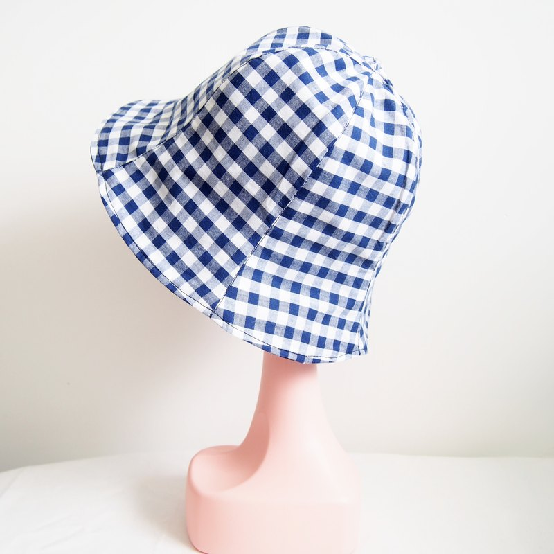 Plaid fisherman hat handmade double-sided hat