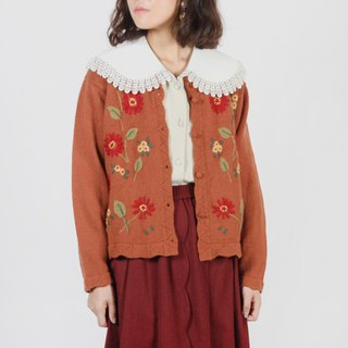 [Egg plant vintage] red persimmon flower vintage embroidery cardigan sweater coat