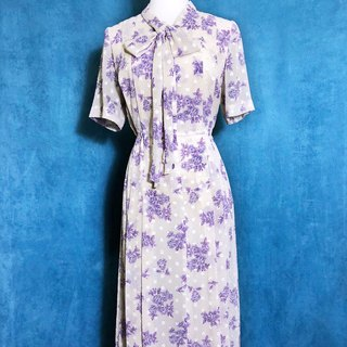 Elegant spring flowers weave short-sleeved light antique dress / foreign bring back unique