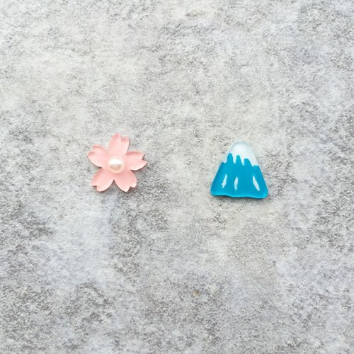 ✦Pista hill hand painted earrings ✦ Landscape - cherry + Mount Fuji