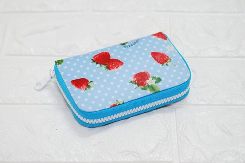 Play cloth hand made. Strawberry Japanese coin change separate clip waterproof cloth short wallet wallet purse