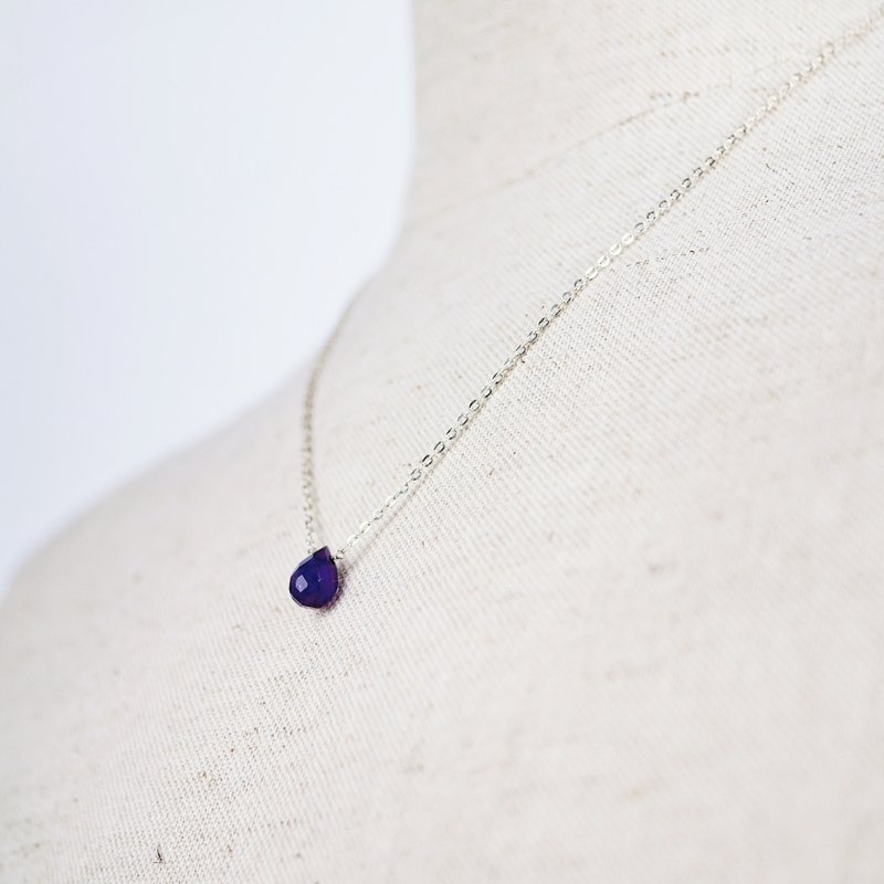 [Natural Stone Series] Amethyst Dripping Sterling Silver Necklace