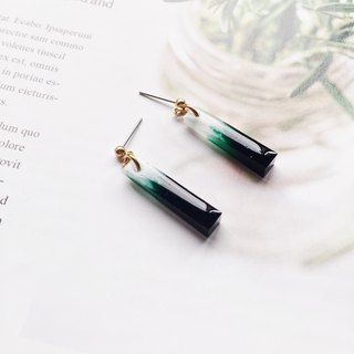 La Don - Long trapezoidal deep green tea garden ear/ear clip