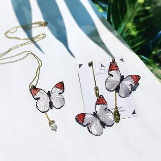 Good Pinkoi Sale | humming Embroidered Earrings Necklace Set - Butterfly White Black