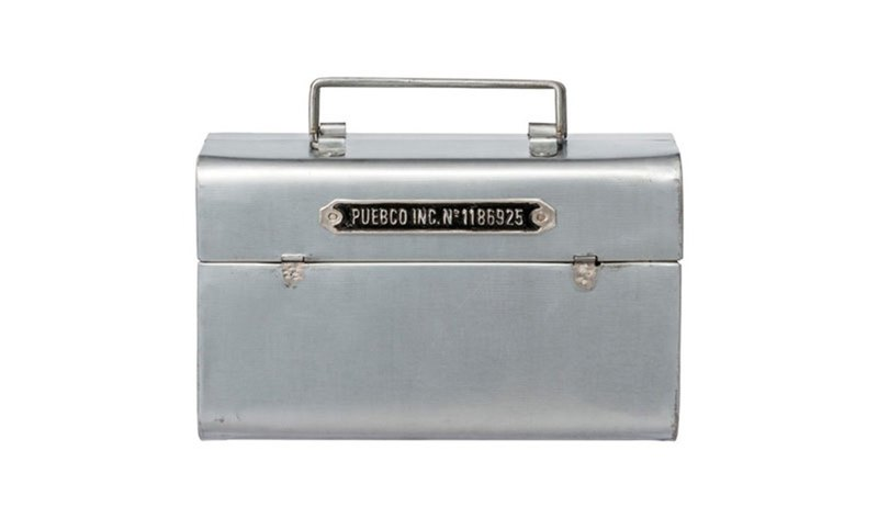 STEEL TOOL BOX Vintage Steel Portable Storage Box