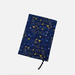 Cute dog book cover with bookmark handmade Print Cotton Fabric canvas