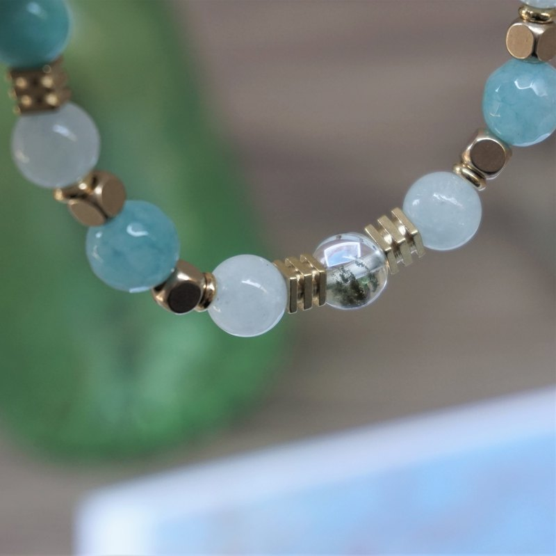 << Leisurely Sea - Natural Stone Bracelet >> Green Ghost Tianhe Stone Sea Sapphire Sea Blue Agate