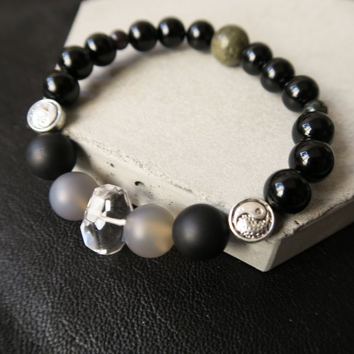 Nothing [Spiritual • Small Hand-made] Black Onyx. White Crystal. Grey Agate. Golden Stone. Tai Chi Tibetan Silver. Unisex Neutral Single-Loop Bracelet Gift