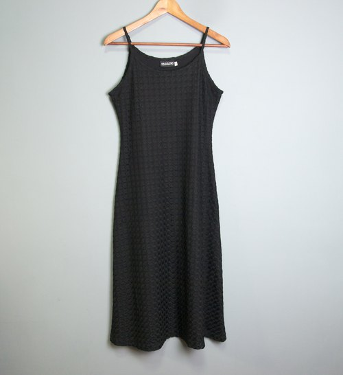 FOAK vintage / black / fish scale hollow crocheted dress