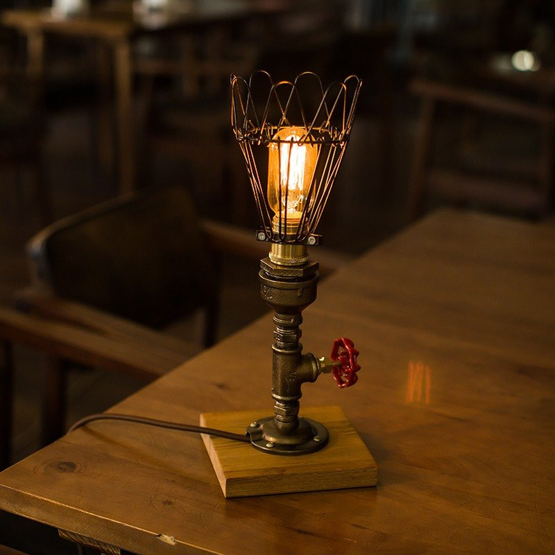Find joy Steam Punk Industrial Vintage Style, Wood Base Metal Body, Table Desk Light With Dimmer, LL-016