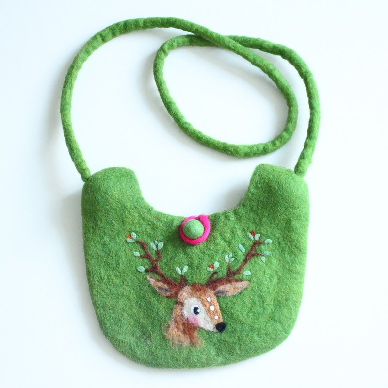 Deer wool felt bag - Hand felted wool bag purse