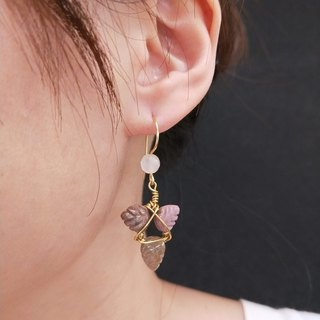 earring. Triangle Tourmaline * Pink Crystal Ear Hook Earrings
