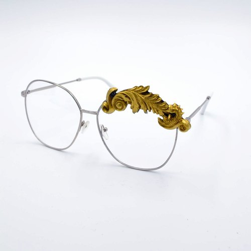 Golden Symphony Baroque Carving Gold Flat Glasses High Quality HD Transparent Plastic Lens