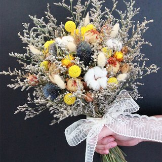 Flowers and flowers - yellow and blue lines in the long dry bouquet of dried bouquet wedding props