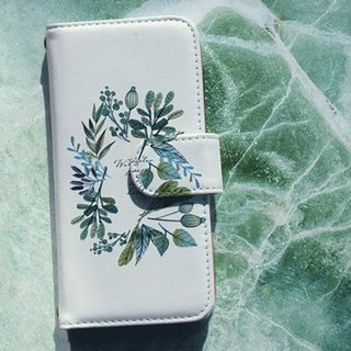【All models supported】 Free shipping 【Handbook type】 Flowers and Herb smart case drawn with watercolors iPhone 8 / iPhone 8 Plus / iPhoneX