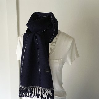 "Unisex hand-woven scarf ""Deep Blue and White lines"""
