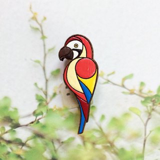 Wooden Brooch Macaw Bird