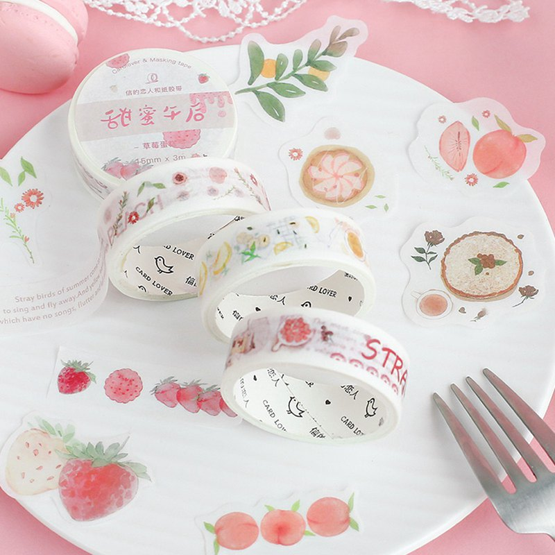 Letter lover and paper tape sticker combination <sweet afternoon> watercolor strawberry fruit collage hand account