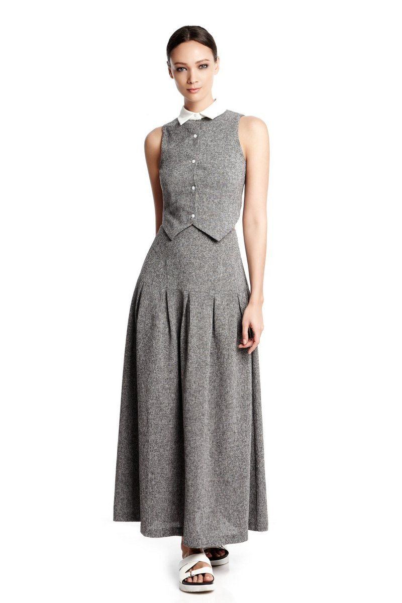 Shannon Maxi Skirt in Heather Grey