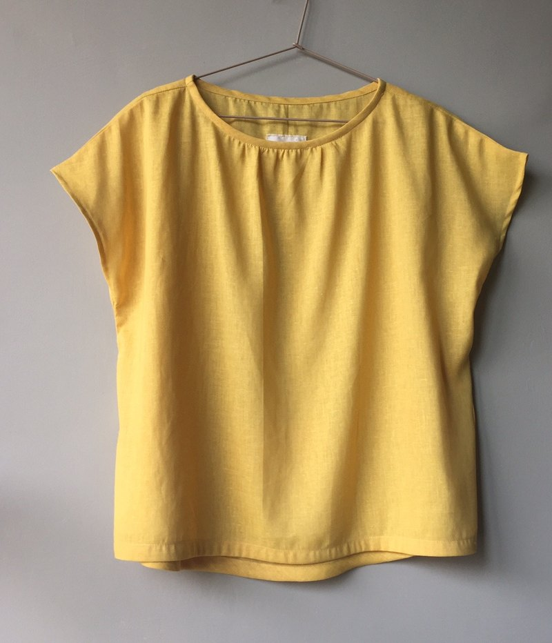*Sunny Trail*Mustard Yellow maybe Delicious Egg Yellow Thin Linen French Sleeve Top 90% Linen +10% Cotton